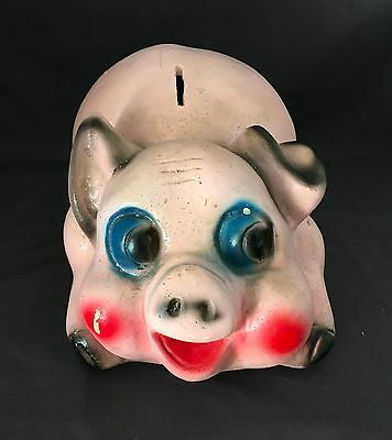 """Vintage Large Piggy Bank Pink with Blue & Red Pottery Hand Painted 11"""" x 7"""" x 6"""""""