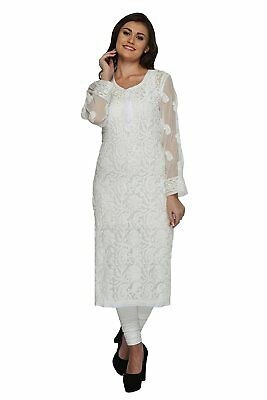 Indian Chikan Handmade Women's Ethnic Wear Faux Georgette Kurti by ADA