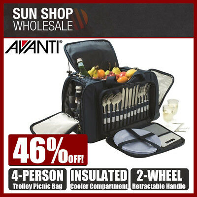 AVANTI 4 Person Insulated Trolley Picnic Bag Backpack Blue Stripe! RRP $259.00!