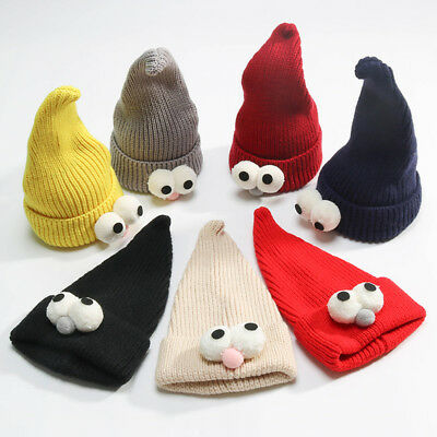 Baby Knitted Cartoon Hat Cap Cute Big Eyes Hats Winter Hats Children Warm Caps