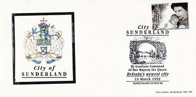 CITY OF SUNDERLAND FIRST DAY COVER 23rd MARCH 1992