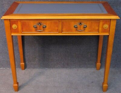 LE-AL Edwardian Style Yew Wood Leather Top 2 Drawer Writing Table / Small Desk