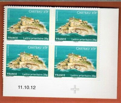 2012-ADHESIF-4 TIMBRES-COIN DATE-CHATEAU D'IF-SUPPORT BLANC - Yv.722a
