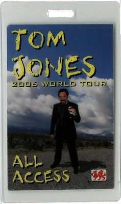 Tom Jones authentic 2006 concert tour Laminated Backstage Pass ALL ACCESS otto