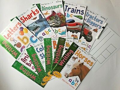 early writing wipe clean workbooks set with pen nursery preschool kids ages 3+