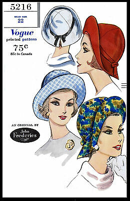 Sewing Pattern VOGUE 5216 Designer JOHN FREDERICS Millinery Hat Fabric CHEMO 22""