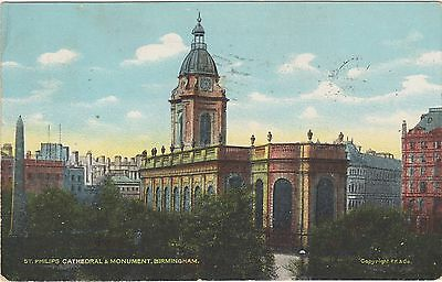 St. Philips Cathedral & Monument, Birmingham. Copyright F.F. & Co Circa 1909 PC