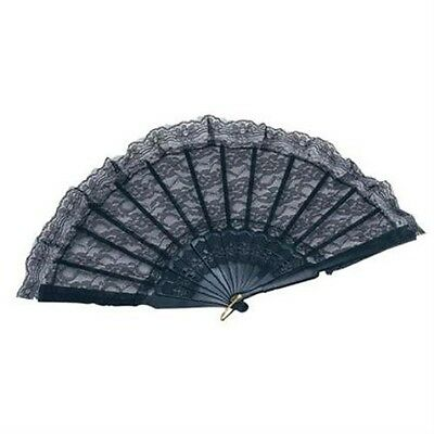 Black Lace Hand Fan Masquerade Ball Womens Fancy Dress Accessory