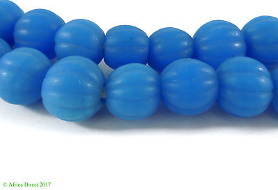 Blue Melon Glass Beads Indonesia 34 Inch