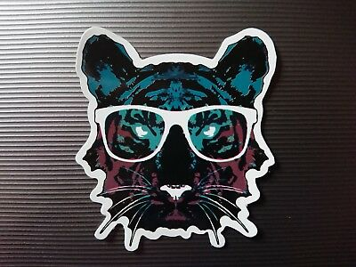 Tiger Wearing Glasses Geek Sticker Skateboard Snowboard Helmet Guitar Big Cat