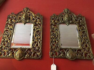 Pair Of Antique French Brass Bevelled Mirrors