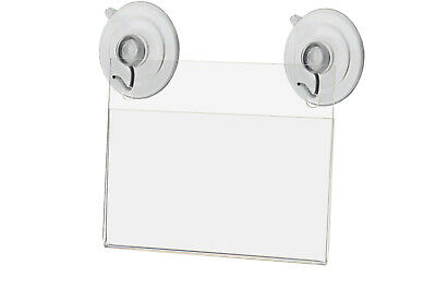"""3.5""""W x 2""""H Window Mount Small Signage Holder with 2 Suction Cups Lot of 2"""