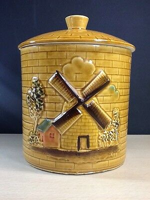 """Cookie Jar made in Japan Embossed Windmill 8.5"""" tall vintage hand painted Old"""
