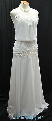 Vintage 70s Wedding Ball gown chiffon embroidered lace white bridal dress SZ S M