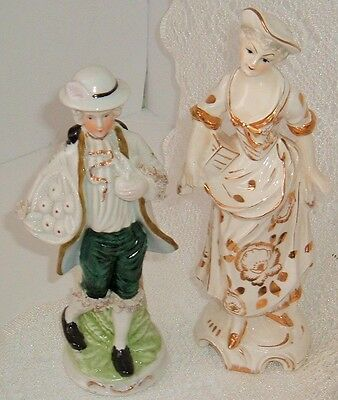 Vintage porcelain figurines man and women made in Japan