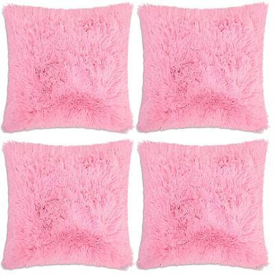 4 x Long Pile Super Soft & Cuddly Shaggy Faux Fur (43x43cm) Cushion Cover (Pink)