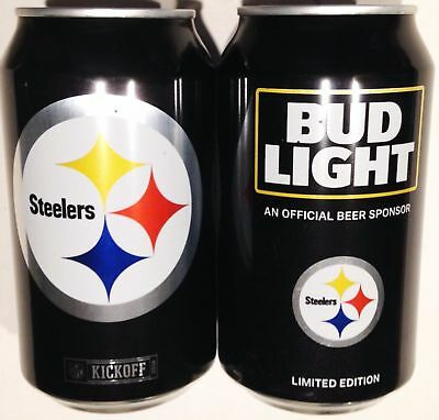 Two 2016 Pittsburgh Steelers Bud Light Beer Cans
