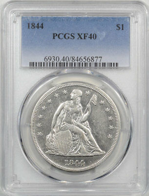 1844 Liberty Seated Dollar Pcgs Xf-40. Another Coin From The Reeded Edge!