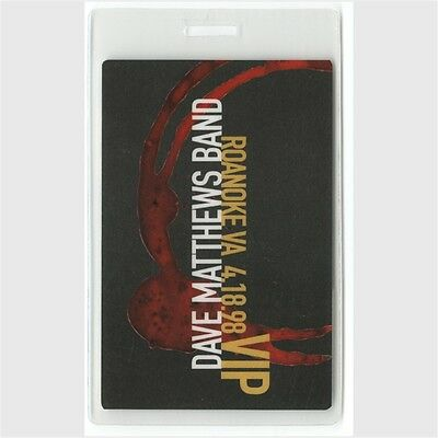 Dave Matthews Band authentic 1998 tour Laminated Backstage Pass Roanoke VIP