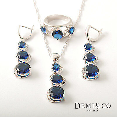 Sterling silver classic blue sapphire necklace statement set Wedding ring UK