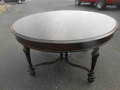 "Vintage 54"" Round Mahogany Table 3 leaves (expands to 85"") plus 6 Chairs"