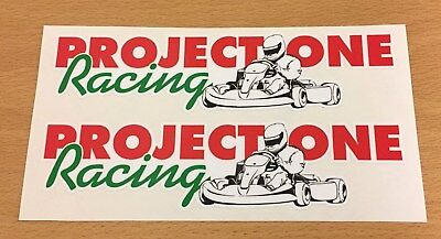 PROJECT ONE Racing Stickers/Decals - 2 x 152mm x 36mm - Karting - Go-Kart