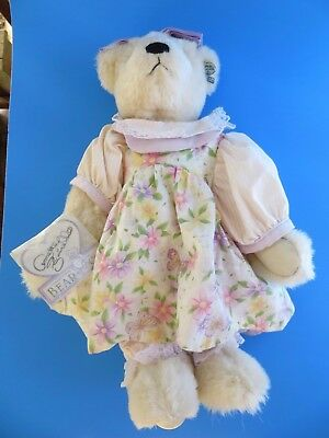 "ANNETTE FUNICELLO Cream Teddy Bear 13"" Floral Dress w/Bloomers Jointed Pretty"