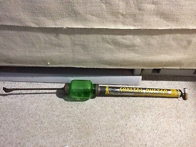 Vintage Brown's Crystal Duster! Crop duster. Green glass.