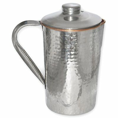 Silver & Copper Steel Drinkware Accessories Water Pitcher Jug with Lid