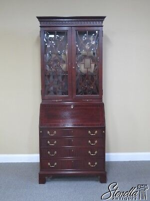 L41433E: JASPER Mahogany Secretary Desk w. Bubble Glass Bookcase Doors