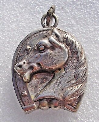Fine antique 800 French Silver puffed horseshoe & Horses head pendant