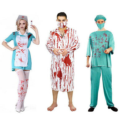 43127bf9906cc MagiDeal Bloody Surgeon Doctor Nurse Zombie Costume Halloween Fancy Dress  Couple