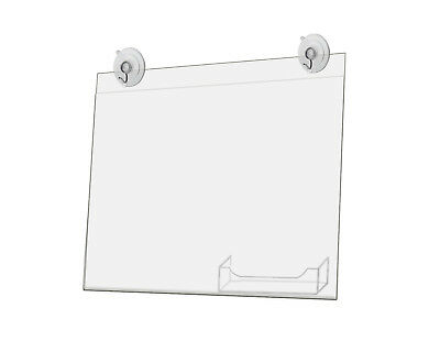 Window Sign Holder with Card Pocket 11 x 8.5 Inch with 2 Suction Cups