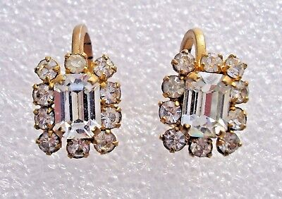 Lovely vintage 1950's signed Austrian Crystal screw back earrings