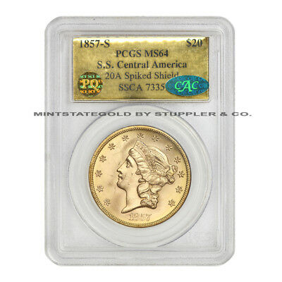 1857-S $20 Liberty PCGS MS64 S.S. Central America Spiked Shield CAC PQ Approved
