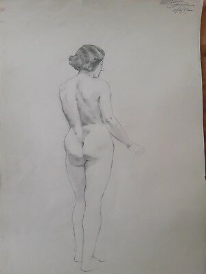 1930's pencil nude by W B Holroyd. Battle of Britain pilot, rare signature