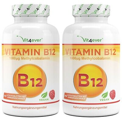 2x Vitamin B12 = 400 Tabletten mit 1000mcg - Methylcobalamin - 100% vegan B-12