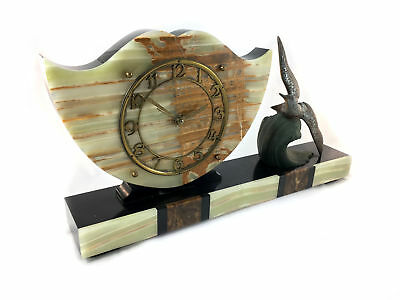French onyx clock and garniture set by S Marti