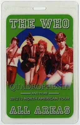 The Who authentic 2012 concert Laminated Backstage Pass Quadrophenia Tour AA