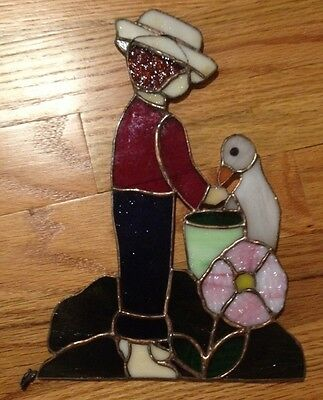Vintage Stain Glass Sun Catcher Window Hanging Boy with Duck