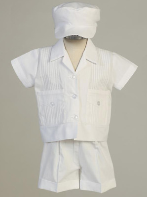 New Baby Toddler Boys White Poly Cotton Pintuck Outfit Set Christening Baptism D