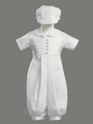 New Baby Boys White Romper Poly Cotton Christening Baptism Dedication Gabriel