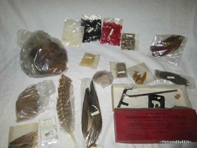 VTG Lot Thompson Model A Vise and Fly Tying Hackle Cape Dubbing Fur Feather
