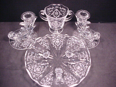 Fostoria Navarre Lot Pr Candle Holders Sugar Bowl 3 ftd Platter Tid Bit