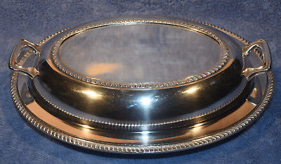 Poole Silver Co. Silverplate (EPNS) Covered Serving Dish/Platter with Handles