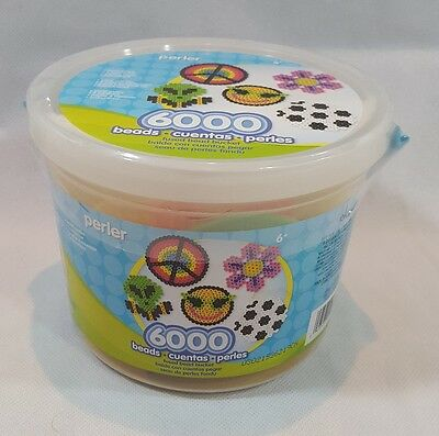 NEW perler 6,000 Count BEADS 5 PEGBOARDS Ironing Paper Fused Bead Bucket Ages 6+