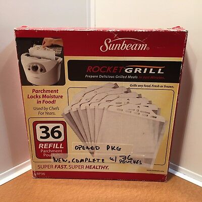 NEW Sunbeam Rocket Grill Parchment Bags 36 Refill Pouches