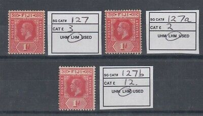 FIJI 1916 KGV 1d. (x3) DIFFERENT SHADES MINT (ID:209/D47956)