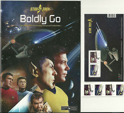 "Star Trek Strip of 4 Starship Stamps, Sheet of 2, & ""Boldly Go"" Details Magazine"