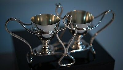Double Eggcups and Holder, by Martin & Hall (Sterling Silver)